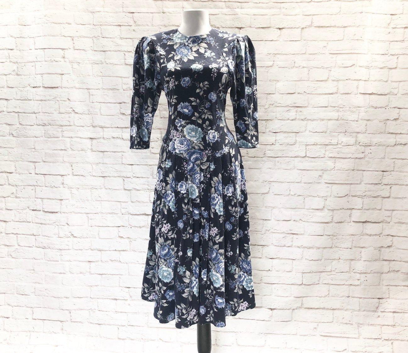 Vintage 80s Blue Tea Floral Puff Sleeve Midi Dress Drop Waist Etsy Dropwaist Dress Dress Drop Puff Sleeve Midi Dresses [ 1124 x 1298 Pixel ]