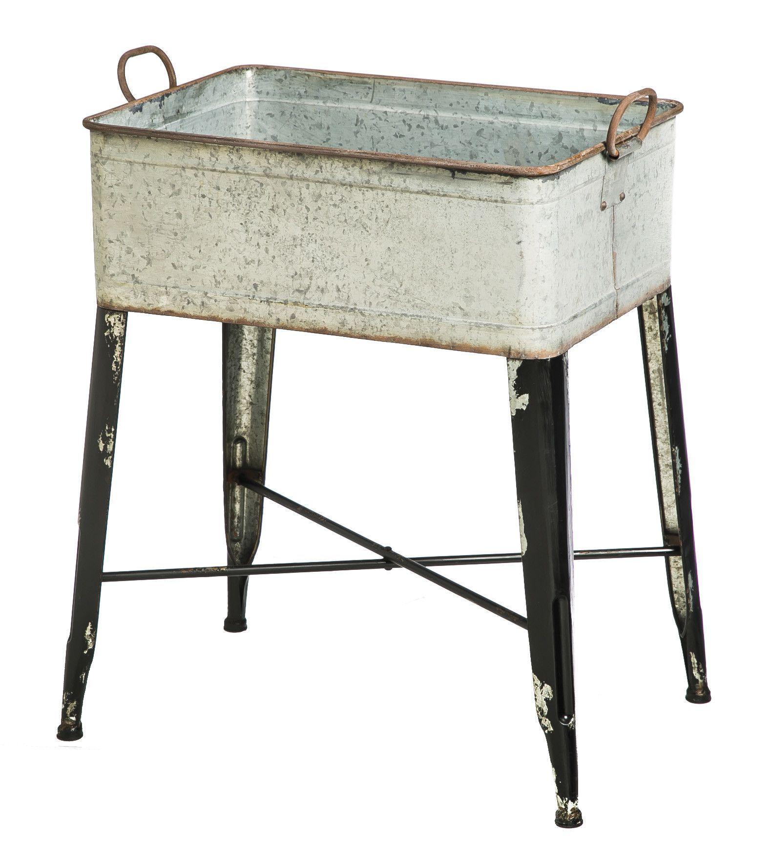 Evergreen Enterprises Inc Novelty Plant Stand Metal Wash Tub Wash Tub Sink Wash Tubs