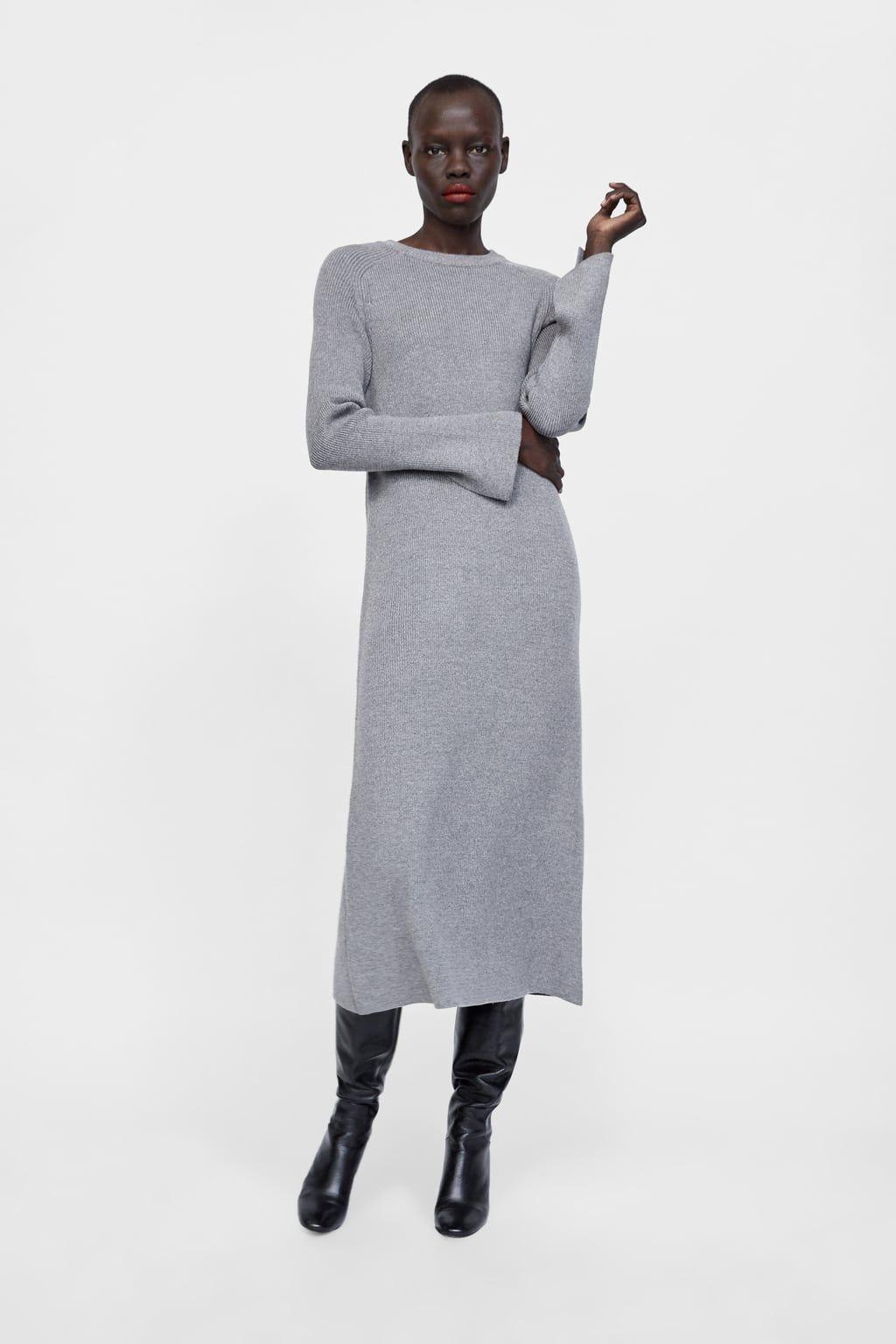 Vestido largo de punto zara