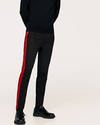 pantalon bande latérale homme zara