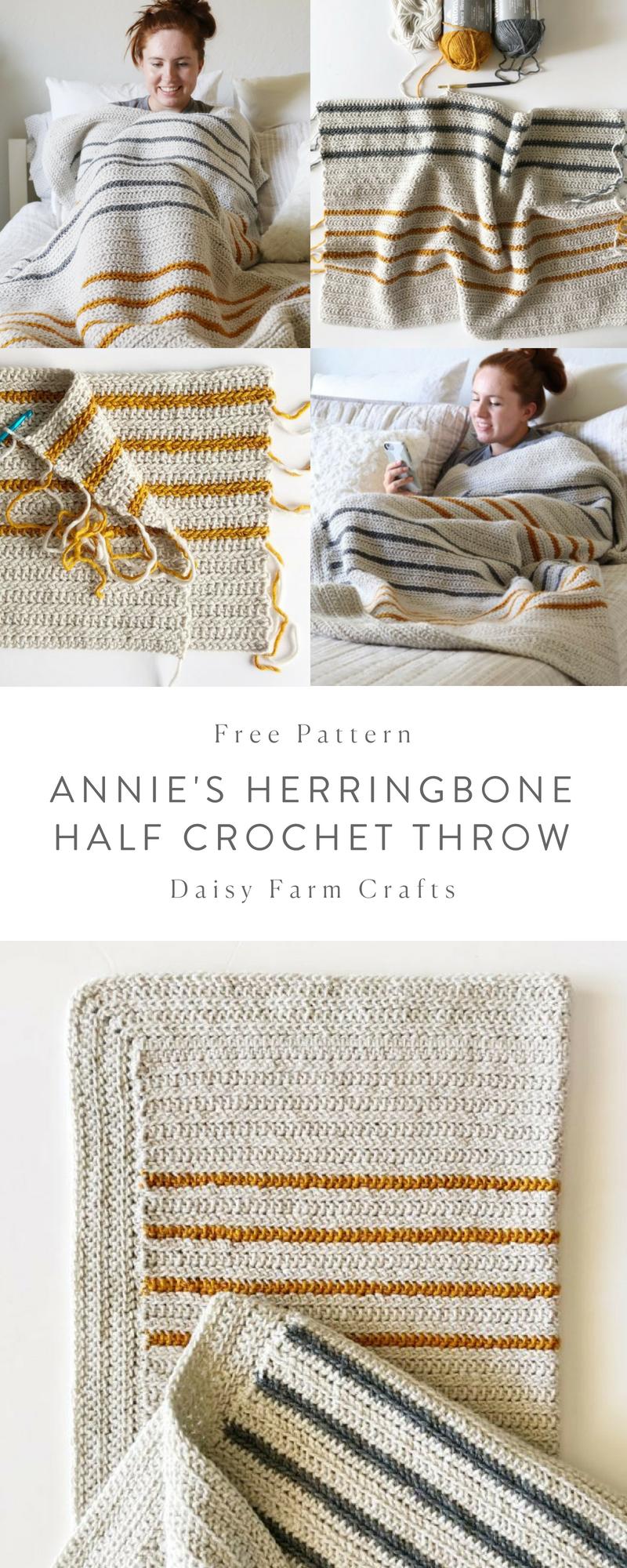 Free Pattern - Annie\'s Herringbone Half Crochet Throw | CROCHET ...