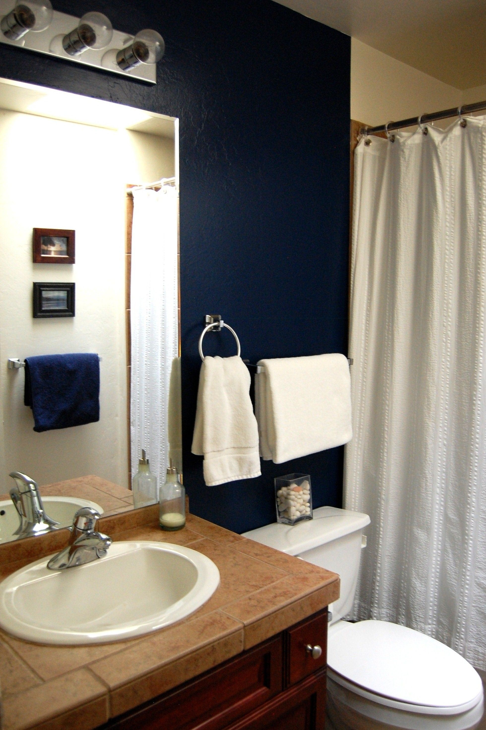 My Guest Bathroom Navy Wall Paint With White Accents