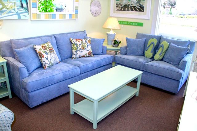 Light Blue Microfiber Sofa And Loveseat