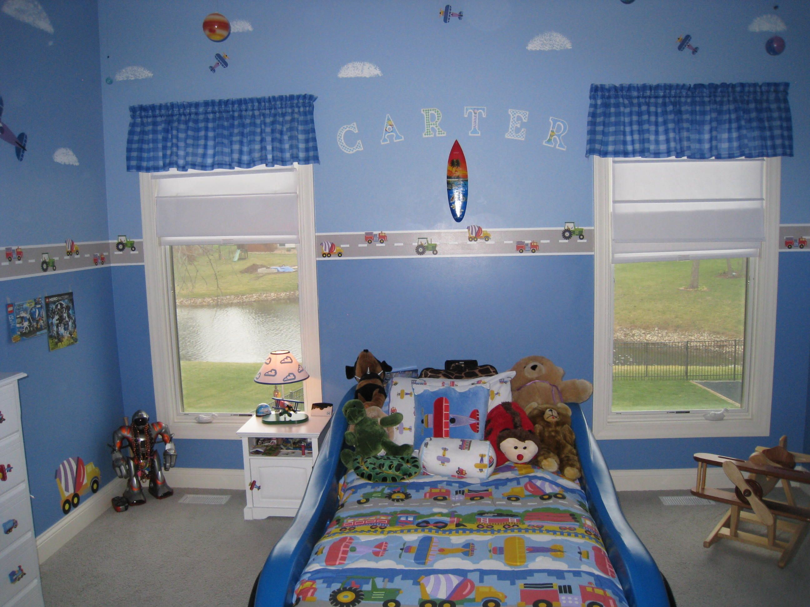 Car plane and train themed bedroom