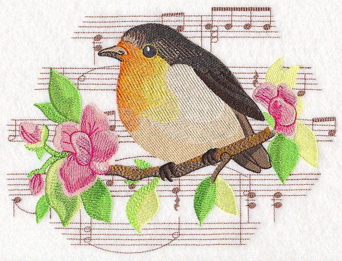 Songbird European Robin in Watercolor design (M12659) from www.Emblibrary.com
