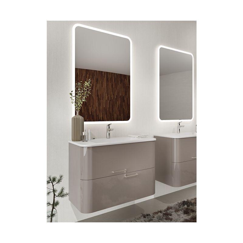 Meuble De Salle De Bain Suspendu 80 Cm Apollo En Bois Cappuccino Brillant Avec Lavabo Avec Colonne In 2020 Creative Bathroom Design Diy Bathroom Decor Bathroom Decor