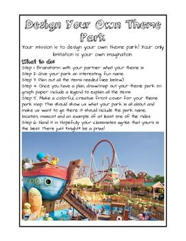 Create Your Own Theme Park Project Math Projects Theme Park Theme