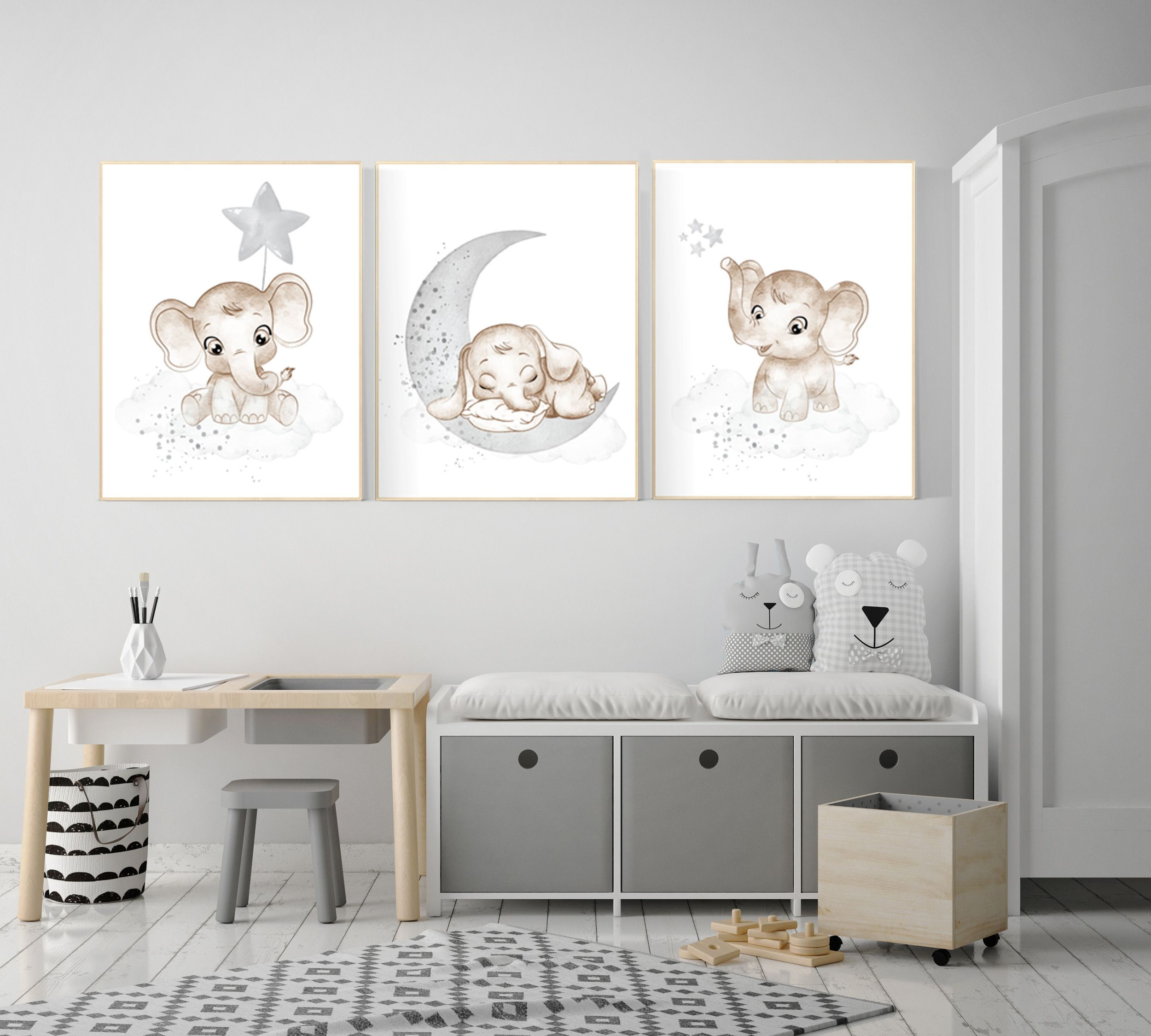 Grey nursery wall decor gender neutral elephant nursery wall decor