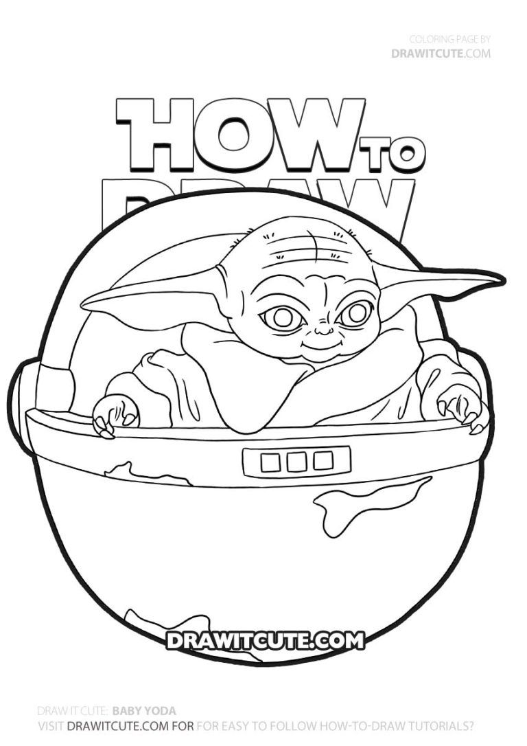 How To Draw Baby Yoda Star Wars The Mandalorian Draw It Cute Yoda Drawing Baby Drawing Coloring Pages