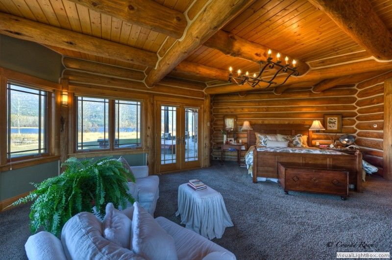 Log Home Master Bedroom-this room is bigger than the apartment I ...