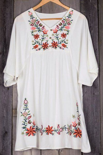 flower embroidered plus size dress | elegant, woman and clothes