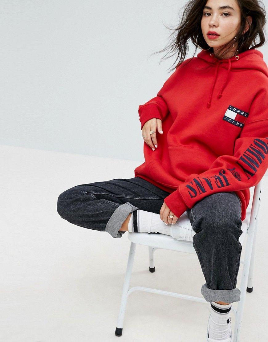 ef518129 Tommy Jeans 90s Capsule Logo Hoodie | Hoodies | Jeans, Hoodies, Red ...