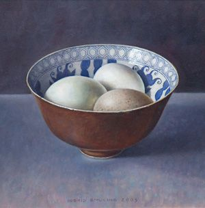 Ingrid Smuling, Still life with 3 eggs. Art - Realism - Painting