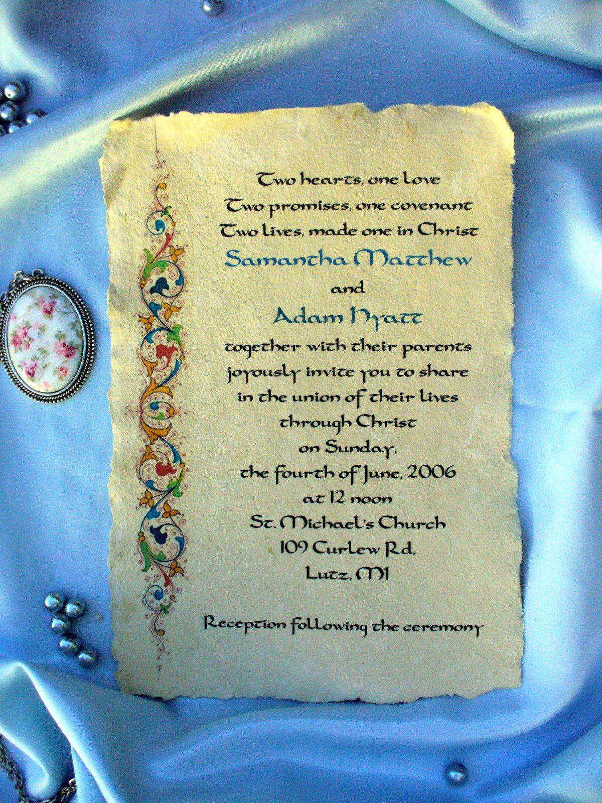 Personalised Medieval Wedding Invitations Gothic Illuminted ...