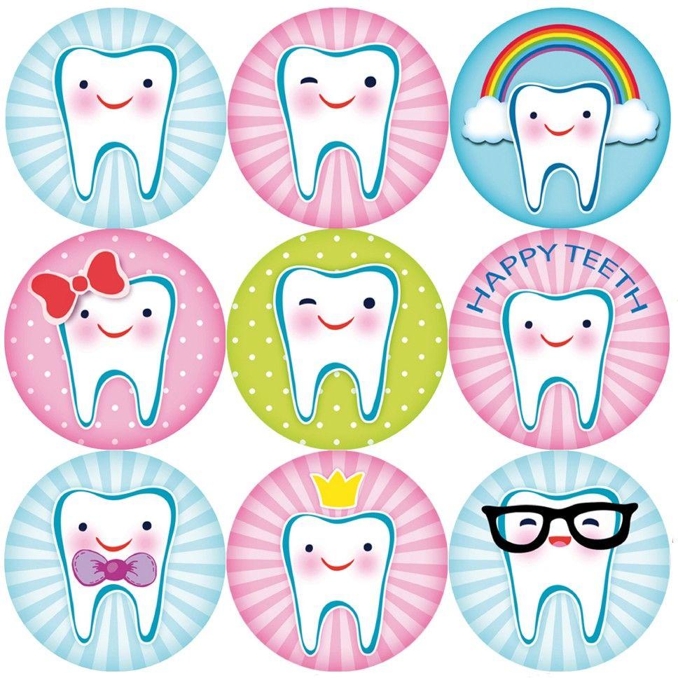 144 Happy Teeth 30mm Reward Stickers for Teachers, Parents
