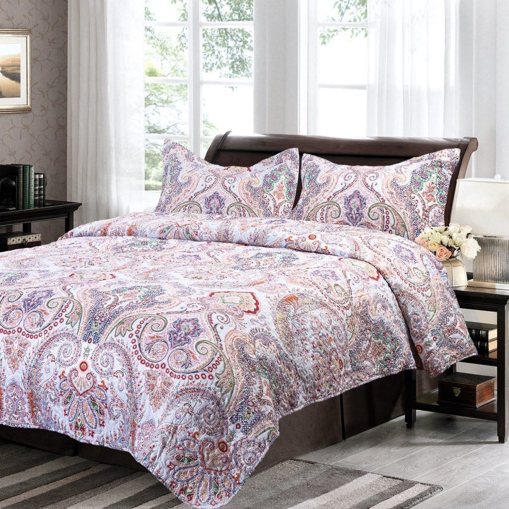 Bedsure Flourish Style Floral Design Quilt Set for All Season ... : all season quilts - Adamdwight.com