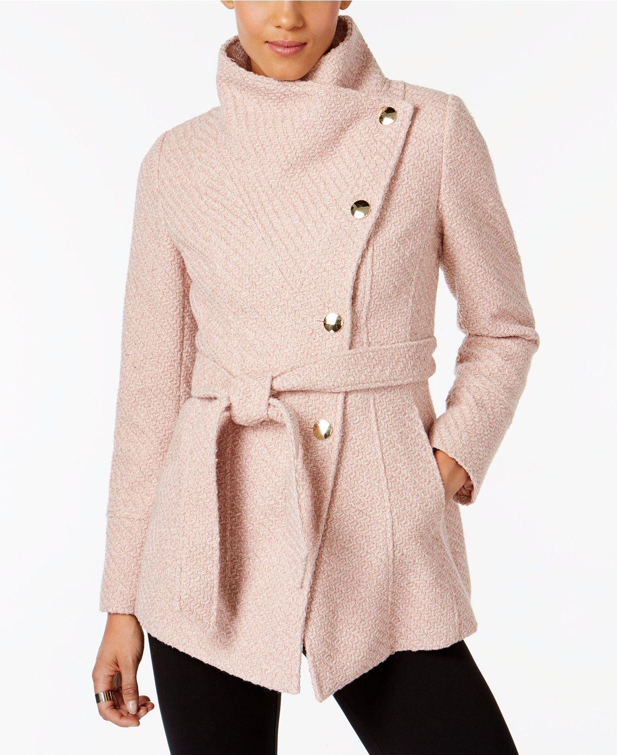Inc International Concepts Asymmetrical Belted Walker Coat Created For Macy S Coats Women Macy S Coats For Women Fashion Coat Dress [ 1467 x 1200 Pixel ]