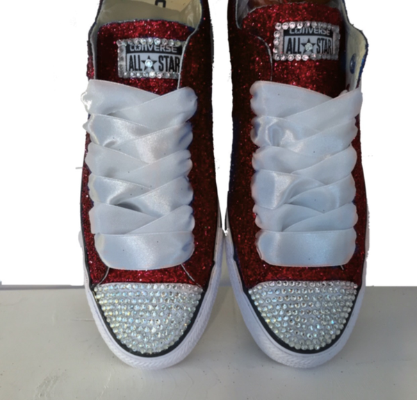 cc2ca9dccf80a0 Womens Glitter bling Crystals Converse All Stars burgundy shoes wedding  bride prom