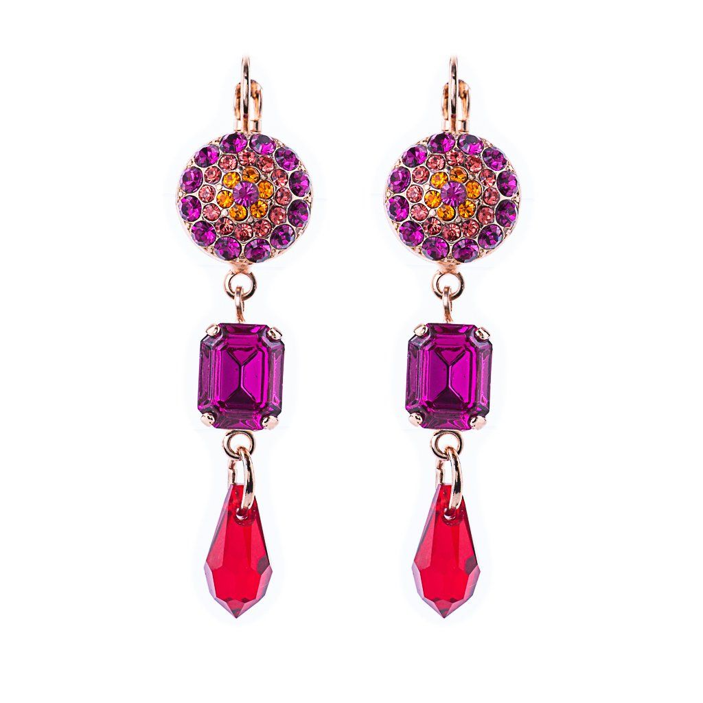 Photo of Round Pavé and Emerald Cut Leverback Earrings in Hibiscus *Preorder* – Rose Gold
