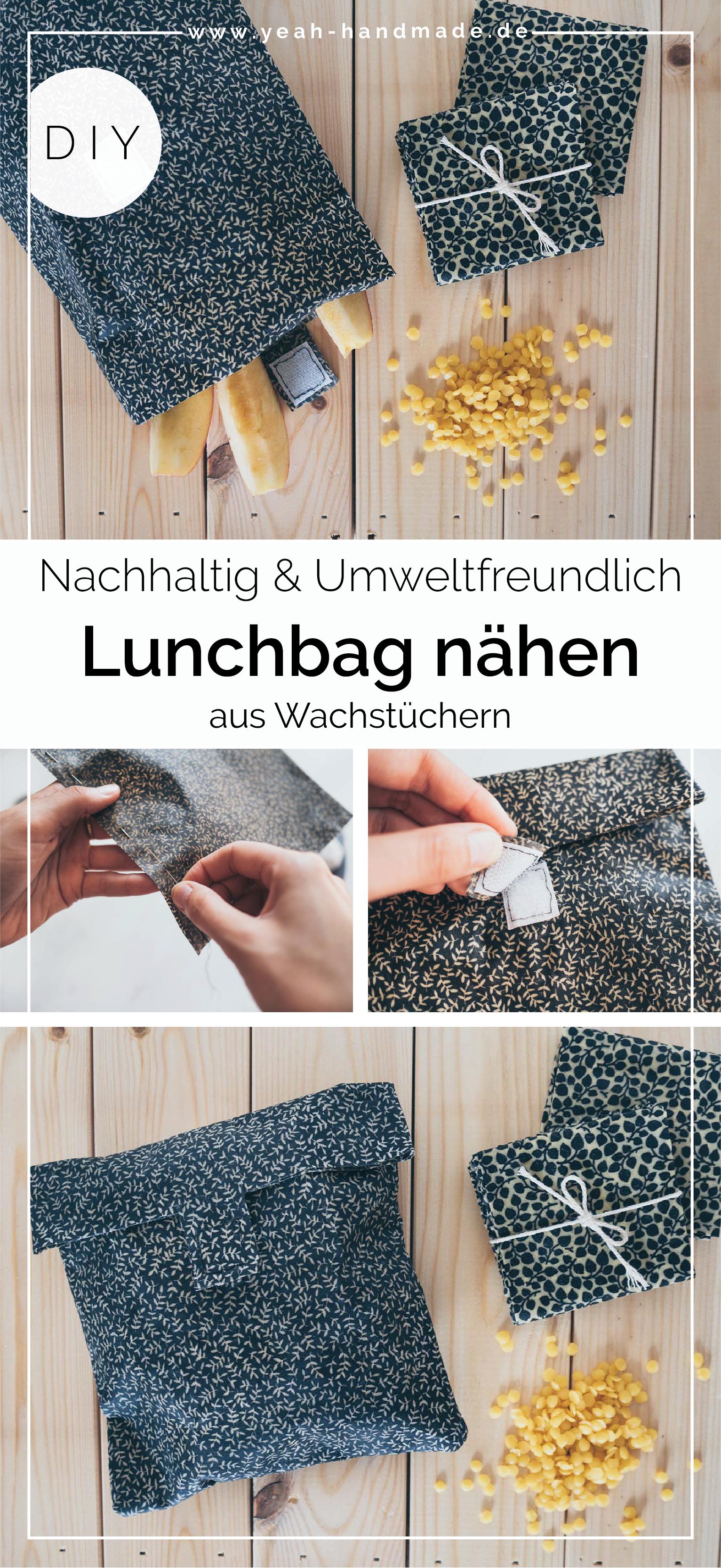 Sac à lunch à coudre bricolage en toile cirée avec velcro   – Yeah Handmade DIY Projekte | Basteln und Selbermachen