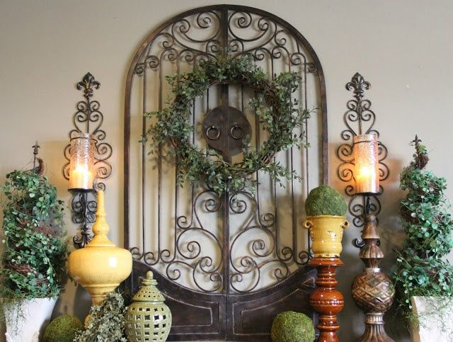 Pinterest + Tuscan mantel decorating ideas | Tuscan-style spring mantel