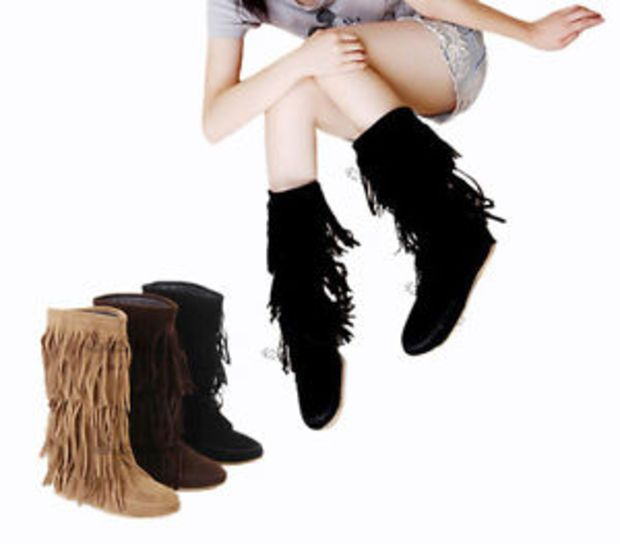 HOT Women's Mid-Calf Tassels Boots Flat Heel Shoes Fringes US All Size Y621