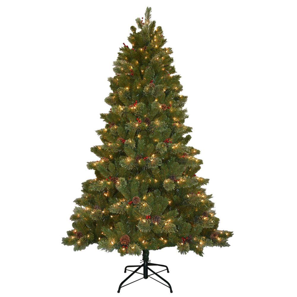 National Tree Company 7 5 Ft Cashmere Cone And Berry Decorated Artificial Christmas Tree With 550 Clear Lights Ccb19 75lo Christmas Tree Clear Lights Christmas Tree Decorations 5 Foot Christmas Tree