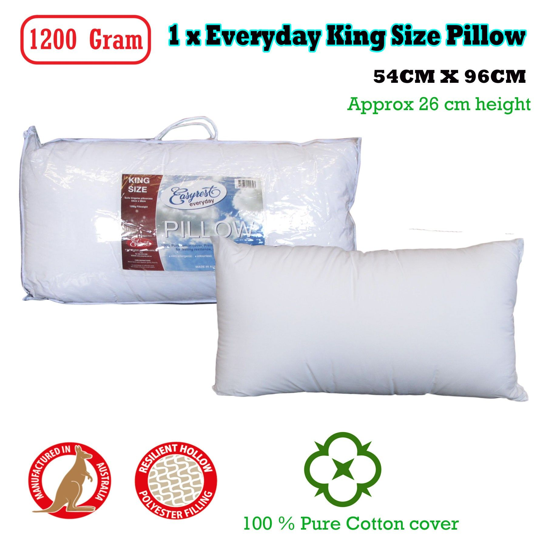 1 x Everyday King Size Pillow 54x96 cm