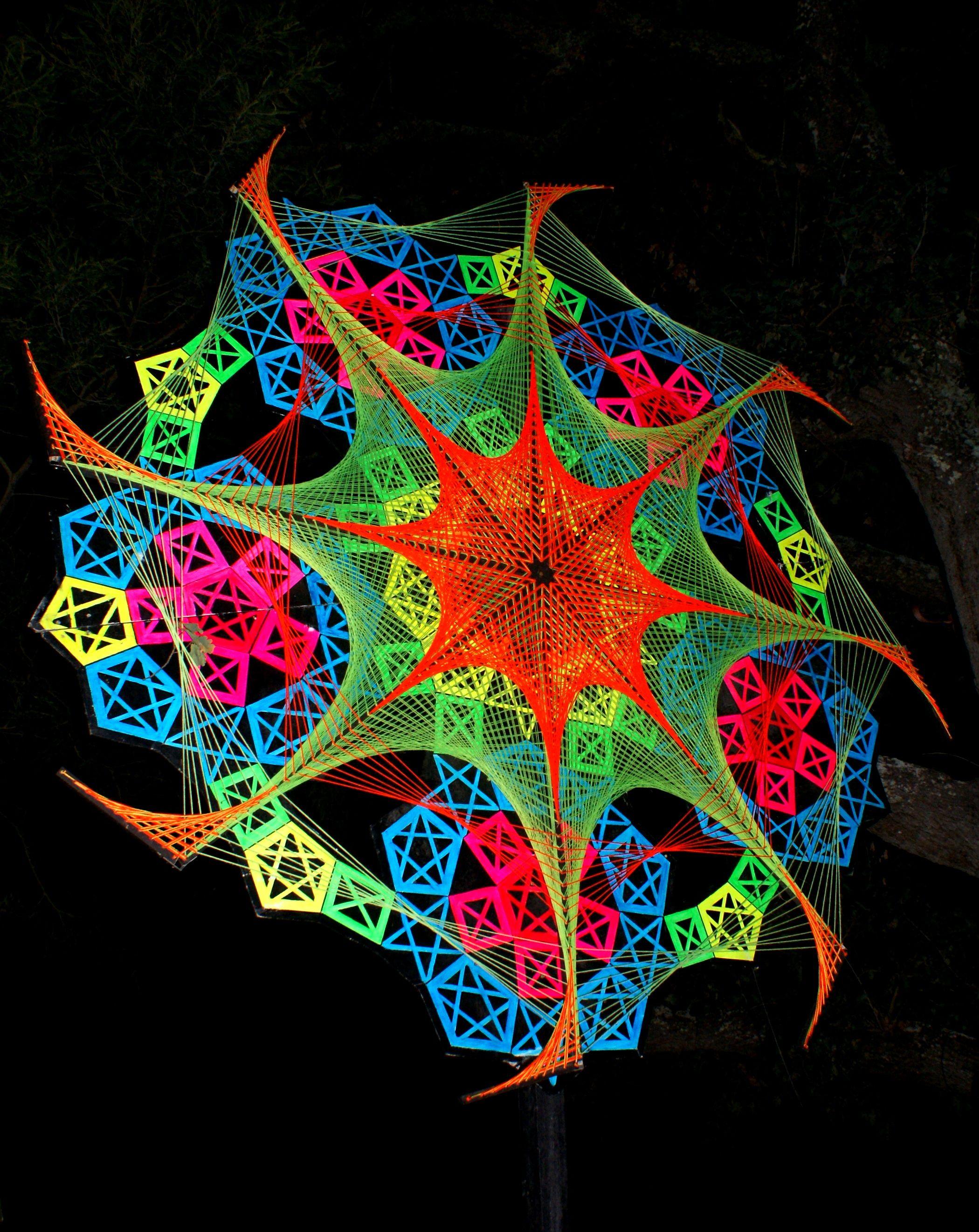 Festival Decor, String art, UV active, psychedelic decor, taken at ...
