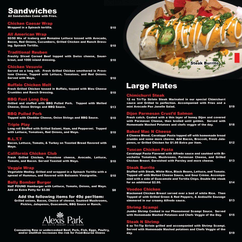 Restaurant Menu for Alexis Park