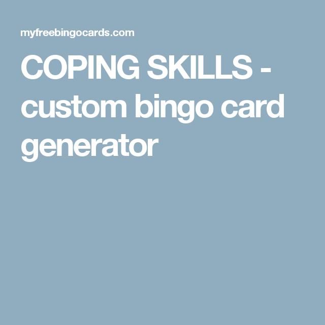 coping skills - custom bingo card generator | Substance use