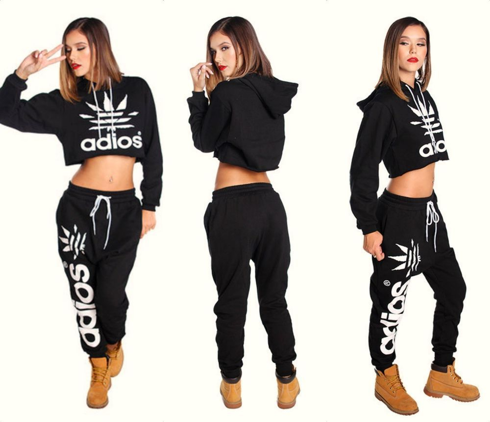 d0802ac1a Trendy Adios Crop Top Hoodie & Joggers Sweatpants Set | chloe look ...