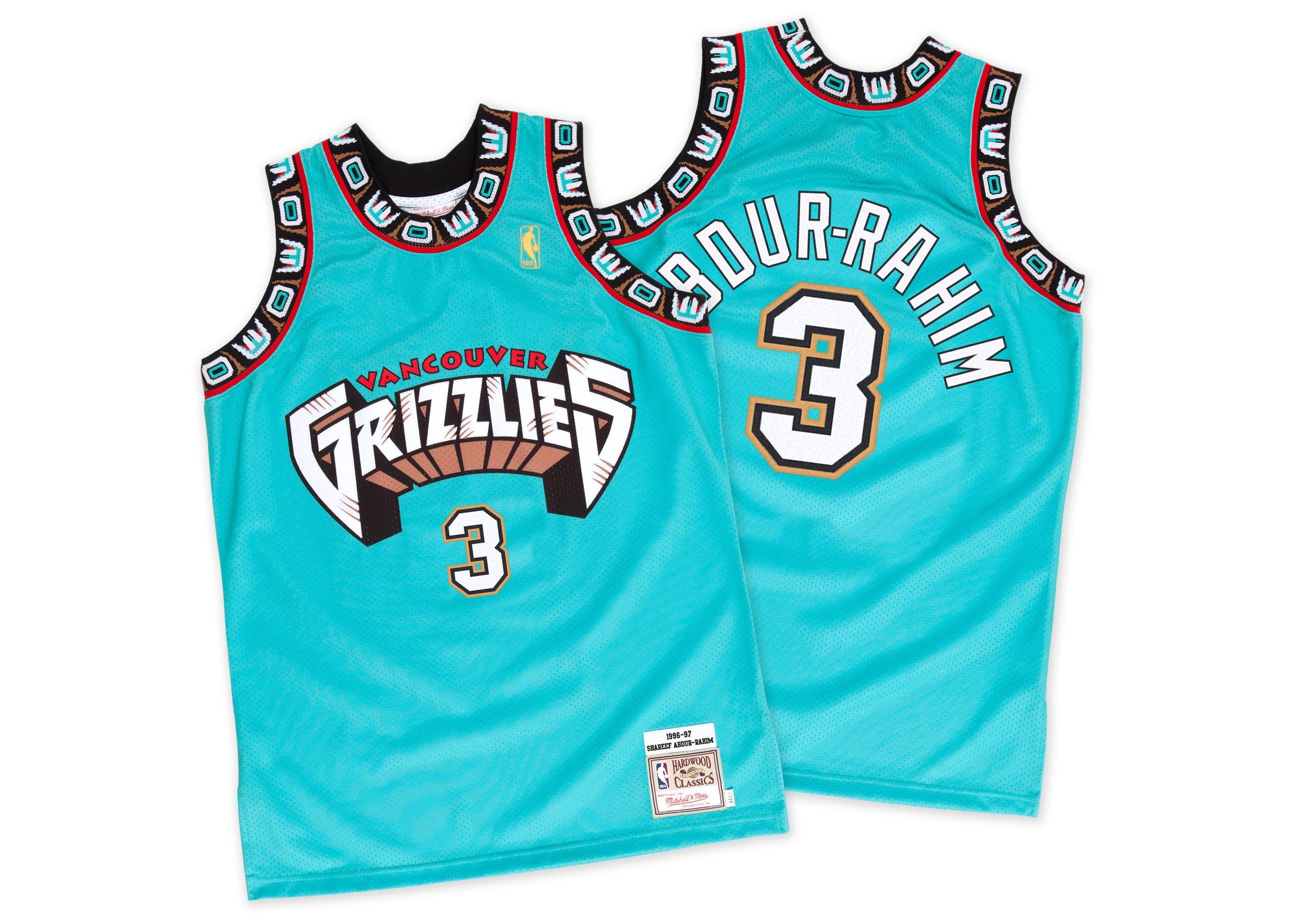 pretty nice 14fa6 0fe36 memphis grizzlies 3 shareef abdur rahim black throwback ...