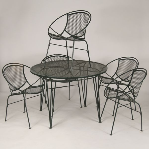 Mid Century Modern / MCM Wire Mesh Patio Dinette Set. Five Circular  Dining/side Part 25