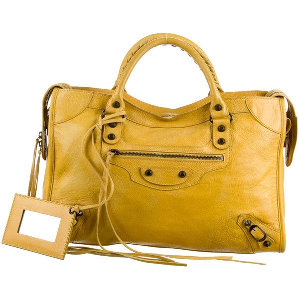 544d40d3905 Pre-owned Balenciaga Motocross Classic City Bag (42,210 PHP) ❤ liked on  Polyvore featuring bags, handbags, yellow, balenciaga, yellow purse, yellow  handbag ...