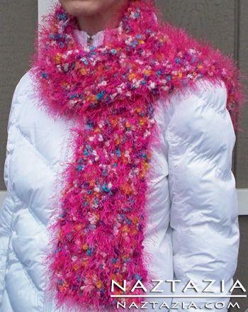 Knit Fuzzy Eyelash Yarn Scarf | KNITTING & CROCHET | Knitting, Knit