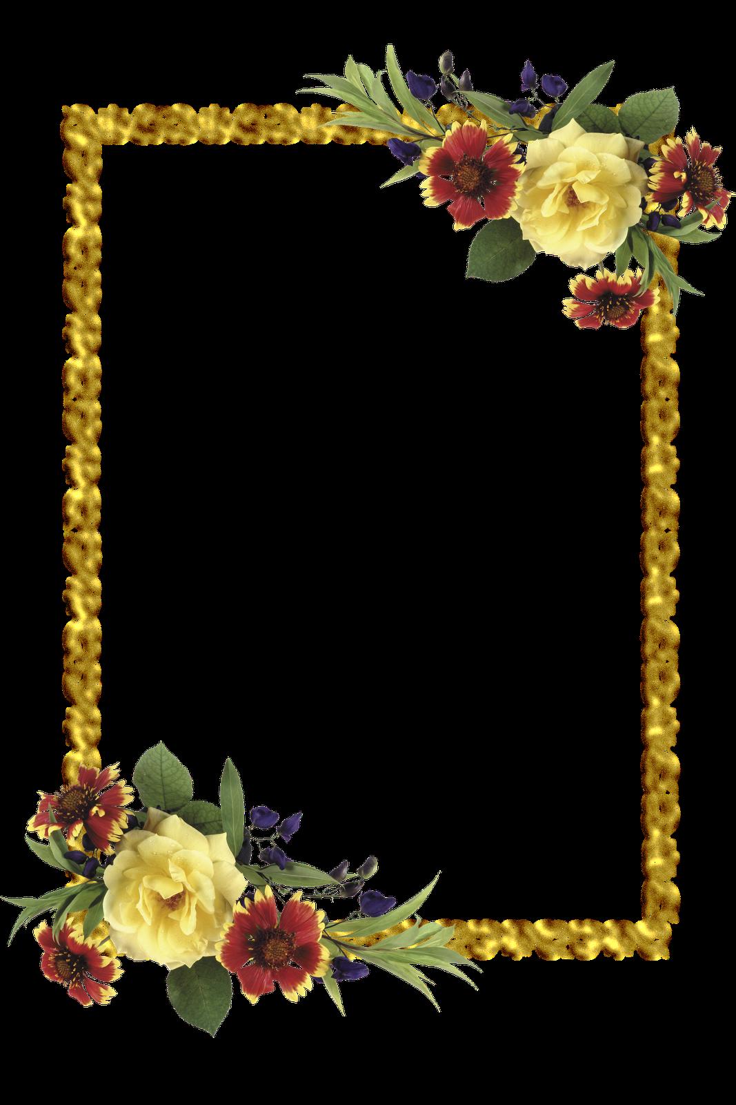 Frames PNG oval com flores Molduras para convites de