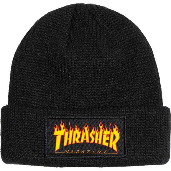 525e9780feb thrasher beanie flame logo (black) Thrasher Flame