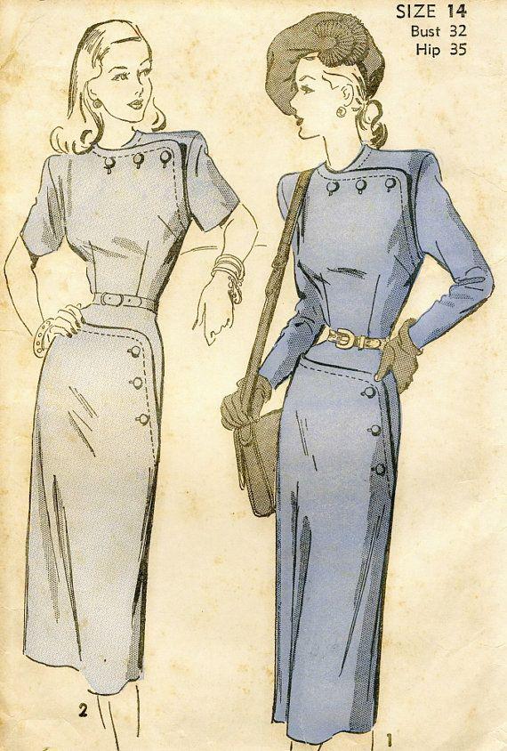 Vintage Advance 4748  Misses Button Detail Dress by RomasMaison, $28.00
