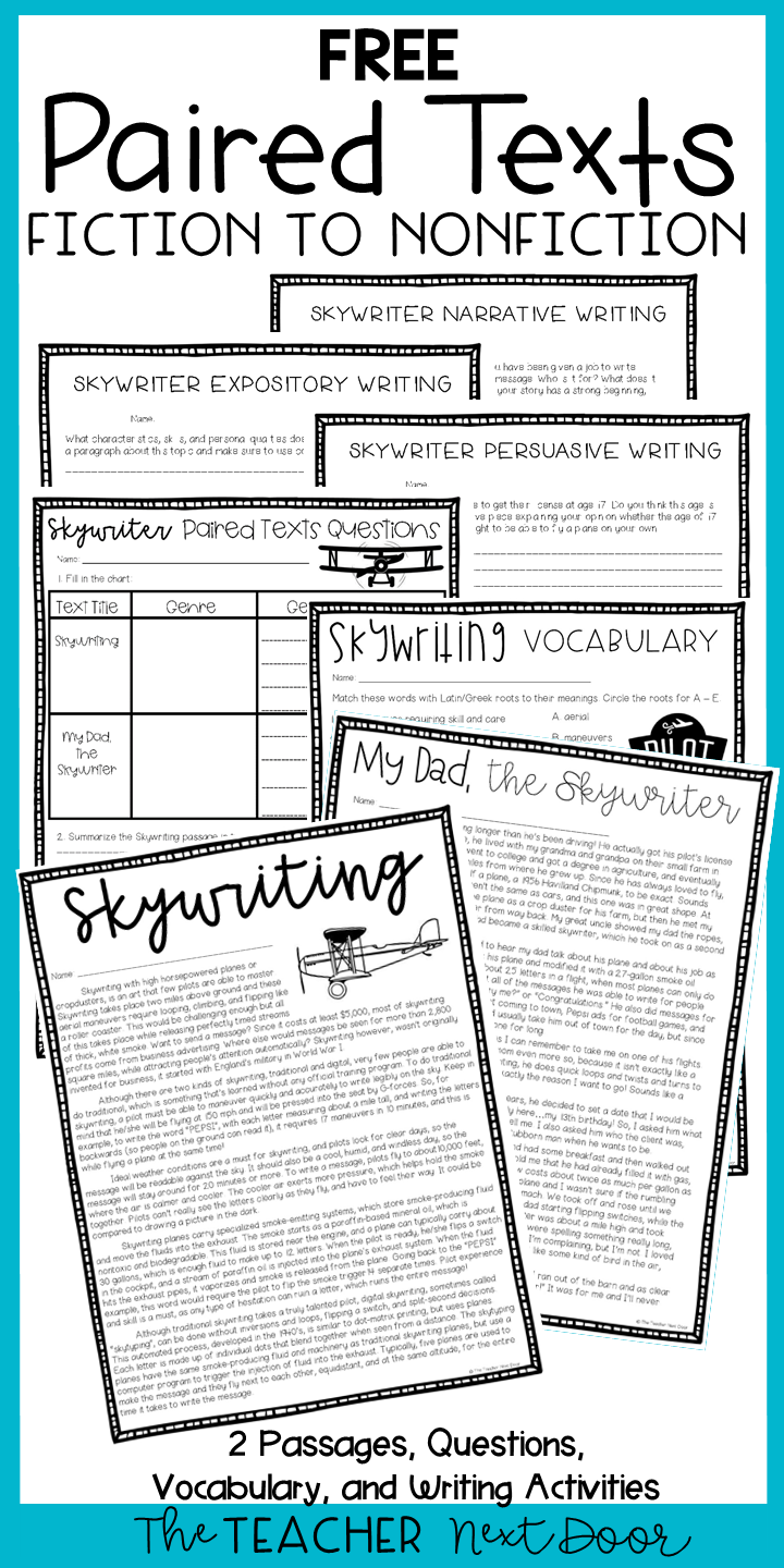 Free Paired Texts For 4th 6th Grades Reading Comprehension Worksheets 6th Grade Reading Reading Classroom [ 1440 x 720 Pixel ]