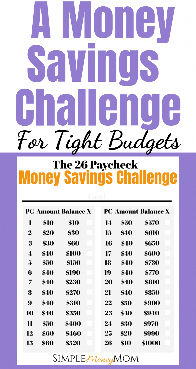 This unique money saving challenge is perfect for those who get paid biweekly. There are 26 paychecks in a year so put away money each paycheck instead of each week. Plus, keep more of your money around the holidays. #moneysavingchallenge #savingmoney #moneychallenge #savingschallengeprintable #simplemoneymom
