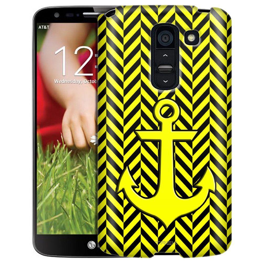 LG G2 Slim Case Anchor on Chevron Mini Yellow Black Slim Case