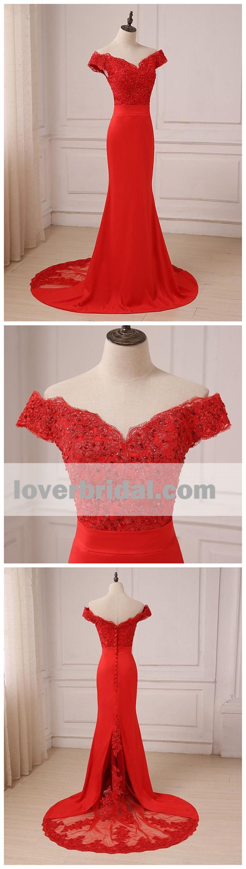 Off shoulder bright red lace mermaid long evening prom dresses