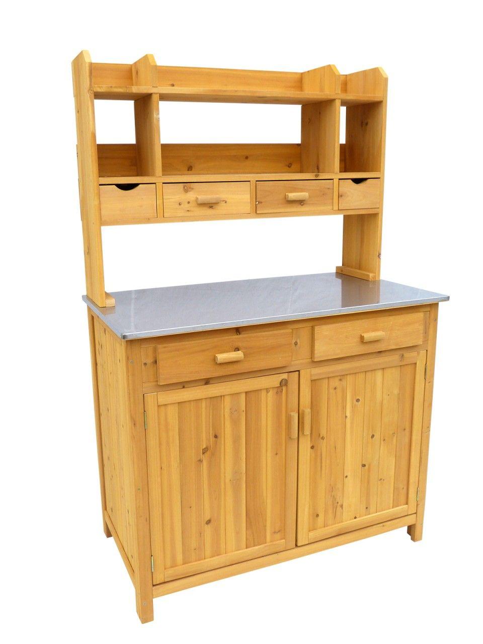Outdoor Bbq Kitchen Prep Station And Storage With Stainless Steel Top Kitchen Prep Station Outdoor Bbq Kitchen Potting Bench