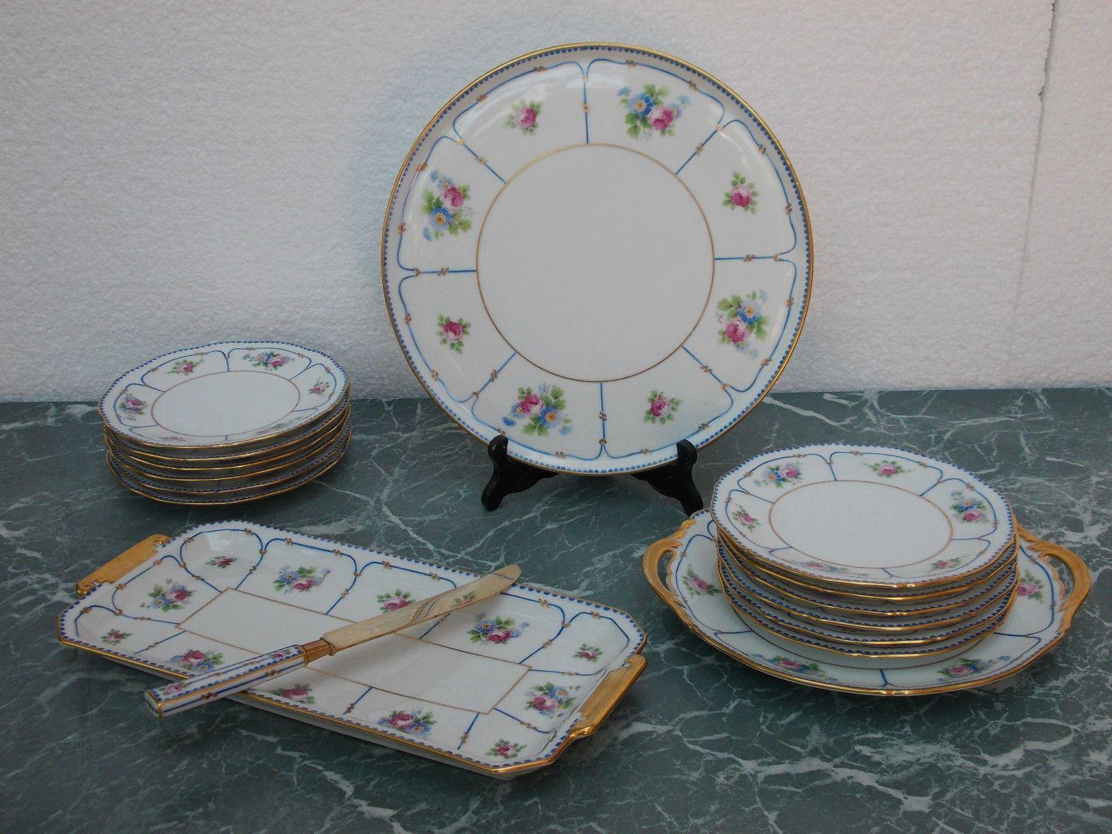 porcelaine de limoges service dessert legrand d cor main ebay arts de la table pinterest. Black Bedroom Furniture Sets. Home Design Ideas