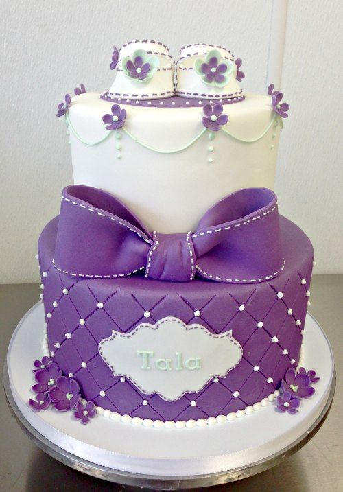 Fancy Baby Shower Cake Fondant Tiered Stacked Baby Shoes Girl