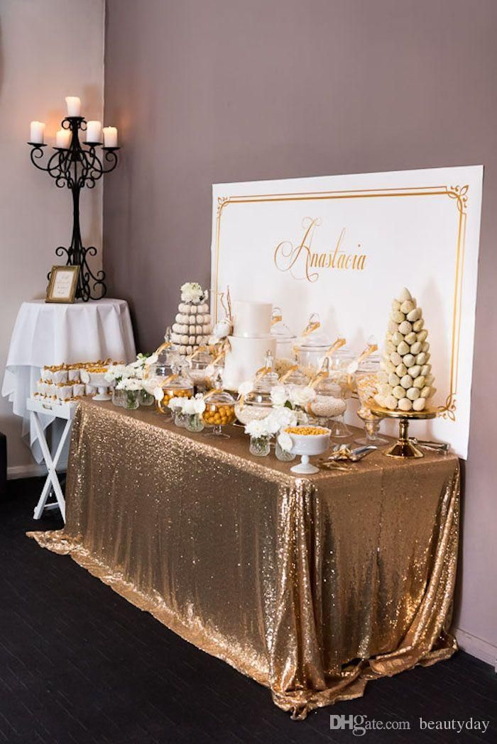 Great Gatsby Wedding Table Cloth Custom Size Round And Rectangle Add Sparkle With Sequins Wedding Cake Table Idea Baptism Party Gold Party 50th Birthday Party