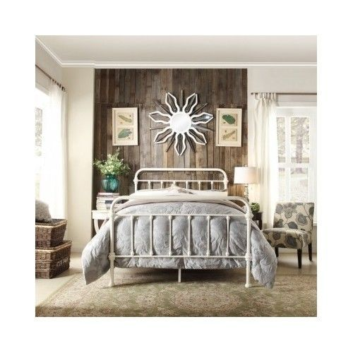 White Victorian Style Iron Metal Queen Bed Frame Antique Headboard
