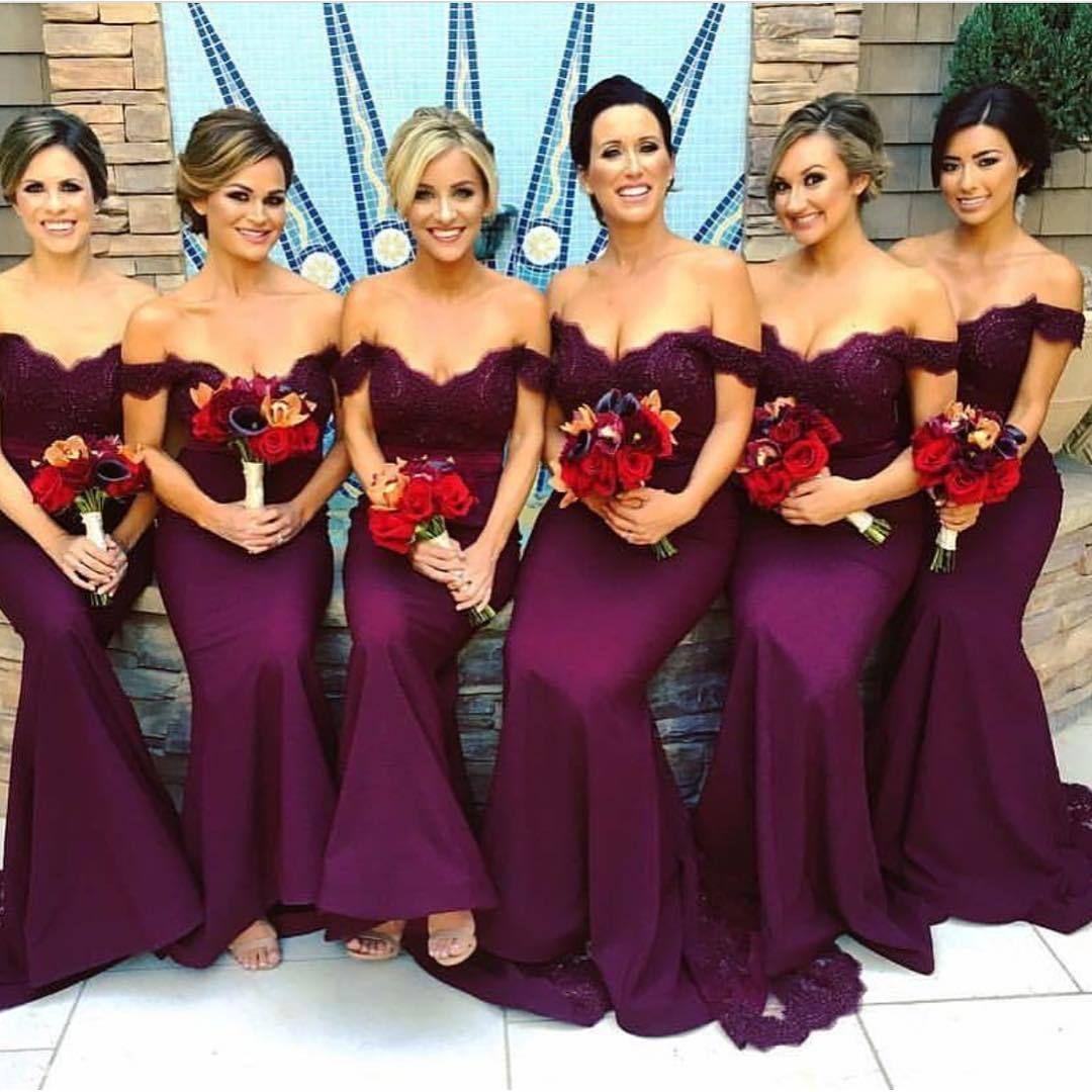 off the shoulder mermaid lace bridesmaid dresses long purple