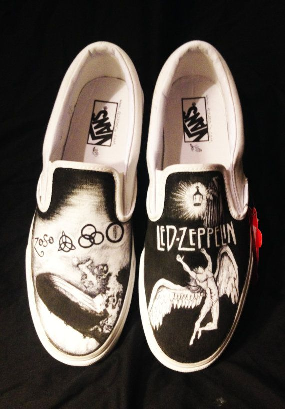 eb004880c93 Hand drawn Led Zeppelin shoes Painted Canvas Shoes